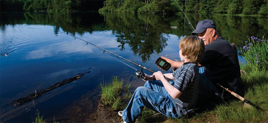 fish finder at lake