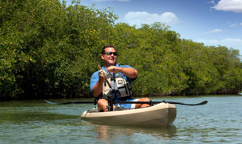 angler in fishing kayak